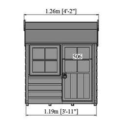 4ft x 4ft (1.19m x 1.19m) -  Stowe Playhouse - 12mm Tongue & Groove - 1 Opening Window - Single Door - Reverse Apex Roof (CORE)