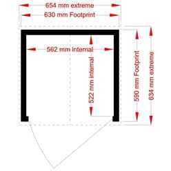 2ft x 2ft  (0.63m x 0.59m) - Tongue & Groove - Pent Garden Store - Windowless - Single Door - 11mm Solid OSB Floor