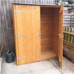 2ft x 4ft  (0.64m x 1.22m) - Tongue & Groove - Pent Garden Store - Windowless - Double Doors - 11mm Solid OSB (CORE)