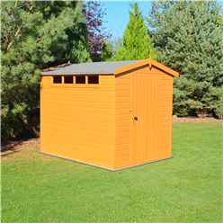 8ft x 6ft  (2.39m x 1.79m) - Tongue And Groove Security - Apex Garden Wooden Shed Workshop - Single Door - 12mm Tongue And Groove Floor And Roof (CORE)