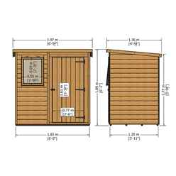 6ft x 4ft (1.16m x 1.77m) - Tongue And Groove - Pent Garden Shed - 1 Opening Window - Single Door -10mm Solid OSB Floor