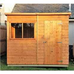 8ft x 6ft (1.83m x 2.39m) - Tongue And Groove - Pent Garden Shed - 1 Window - Single Door - 10mm Solid OSB Floor