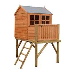 4ft x 6ft (1.19m x 1.82m) - Stowe Tower Playhouse - 12mm Tongue & Groove - 1 Opening Window - Single Door - Reverse Apex Roof (CORE)