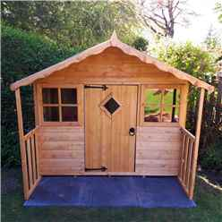 6ft x 5ft (1.79m x 1.19m) - Stowe Playhouse - 12mm Tongue & Groove - 2 Opening Windows - Single Door - Apex Roof