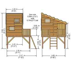 6ft x 6ft (1.79m x 1.79m) - Stowe Command Post Tower Playhouse - 12mm Tongue & Groove - 3 Windows - Single Door - Pent Roof