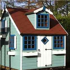 8ft x 6ft (2.39m x 1.79m) - Cottage Playhouse - 12mm Tongue and Groove - 5 Windows - Single Door - Apex Roof