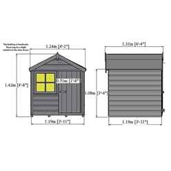 4ft x 4ft (1.12m x 1.19m) - Wooden Playhut Playhouse - 12mm Tongue & Groove - 1 Window - Single Door - Apex Roof