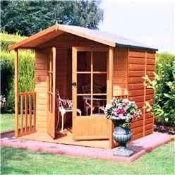 7ft x 7ft (2.05m x 1.98m) - Premier Wooden Summerhouse + Veranda - Double Doors - 12mm T&G Walls & Floor (CORE)