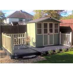 7ft x 5ft (2.05m x 1.62m)  - Premier Wooden Summerhouse - Central Double Doors - 12mm T&G Walls & Floor