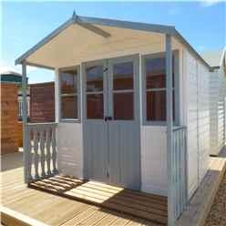 7ft x 7ft (2.05m x 1.55m) -  Premier Wooden Summerhouse - Double Doors - Side Windows - 12mm T&G Walls & Floor