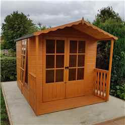 7ft x 7ft (2.05m x 1.98m) - Premier Wooden Summerhouse - Double Doors - 12mm T&G Walls - Floor - Roof