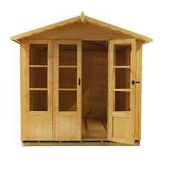 7ft x 7ft (2.05m x 1.98m) - Premier Wooden Summerhouse - Double Doors - Side Windows - 12mm T&G Walls & Floor