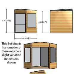 ** IN STOCK - LIVE BOOKING ** 7ft x 7ft (1.98m x 2.05m) - Premier Corner Wooden Summerhouse - Double Doors - 12mm T&G Walls & Floor