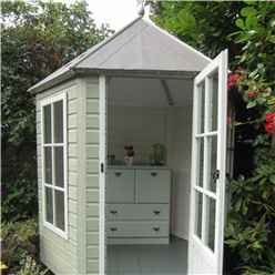 6ft x 7ft (1.87m x 2.16m) -  Premier Wooden Hexagonal Summerhouse - Single Door - 12mm T&G Walls & Floor