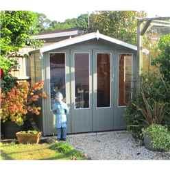 7ft x 7ft (2.69m x 2.05m)  - Premier Wooden Summerhouse - Double Doors + Side Windows - 12mm T&G Walls - Floor - Roof