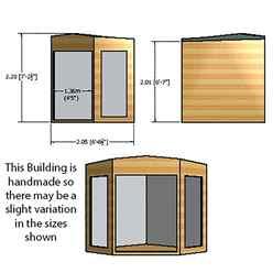 ** IN STOCK LIVE BOOKING ** 7ft x 7ft (2.69m x 2.05m) - Premier Corner Wooden Summerhouse - Double Doors - Side Windows - 12mm T&G Walls & Floor
