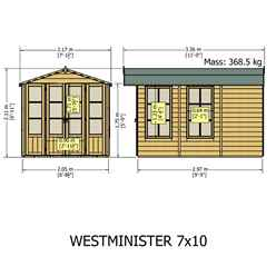 10ft x 7ft (2.97m x 2.05m) - Premier Wooden Summerhouse - Optional Veranda - 12mm T&G Walls - Floor - Roof