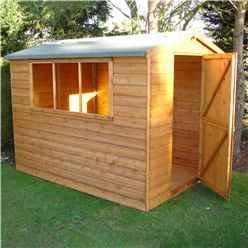 8ft x 6ft (2.39m x 1.79m) - Tongue And Groove - Apex Workshop - 2 Windows - Single Door - 12mm Tongue And Groove Floor and Roof (CORE)