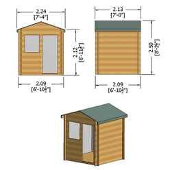 2m x 2m Premier Log Cabin With Half Glazed Single Door - Opening Window + Free Floor & Felt (19mm)