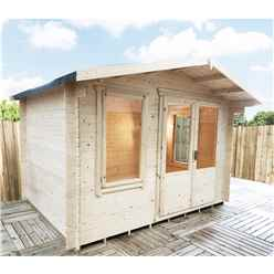 3.3m x 2.4m Premier Log Cabin With Half Glazed Double Doors and Single Window Front + Free Extra Side Window and Floor & Felt (19mm) (Show Site) IN STOCK BOOK A DELIVERY DATE