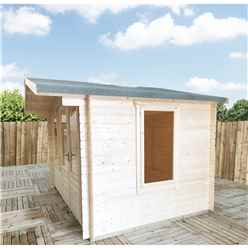 3.3m x 2.4m Premier Log Cabin With Half Glazed Double Doors and Single Window Front + Free Extra Side Window and Floor & Felt (19mm) (Show Site)