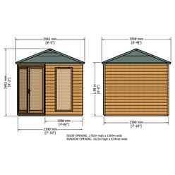 8ft x 8ft (2.5m x 2.5m) - Premier Corner Wooden Summerhouse - Double Doors - Side Windows - 12mm T&G Walls and Floor