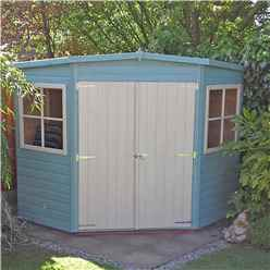 INSTALLED 7ft x 7ft (2.09m x 2.09m) - Pressure Treated Tongue And Groove - Corner Shed - 2 Opening Windows - Double Doors - 12mm Tongue And Groove - INSTALLATION INCLUDED