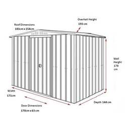 OOS - BACK MAY 2021 - 6ft x 5ft Premier EasyFix – Apex – Metal Shed -Anthracite Grey (1.84m x 1.54m)