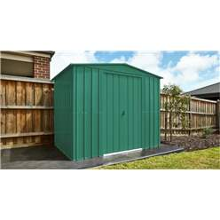 OOS - BACK MAY 2021 - 8ft x 3ft Premier EasyFix – Apex – Metal Shed - Heritage Green (2.45m x 0.92m)