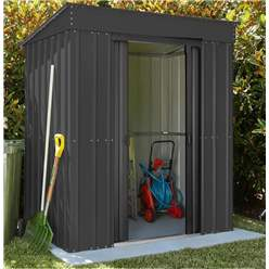 8ft x 4ft Premier EasyFix - Pent - Metal Shed - Anthracite Grey (2.42m x 1.24m)