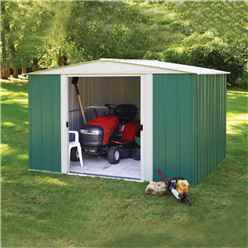 10ft x 8ft Rowlinson Green Metal Apex Shed (3130mm x 2420mm)