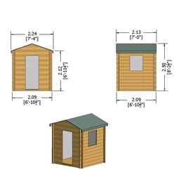 2m x 2m Premier Apex Log Cabin With Single Door and Opening Window + Free Floor & Felt (19mm)