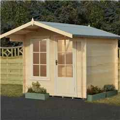 2.7m x 2.7m Premier Apex Log Cabin With Interchangeable Door and Window + Free Floor & Felt (19mm)