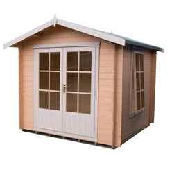2m x 2m Premier Apex Log Cabin With Double Doors and Side Window + Free Floor & Felt (19mm)