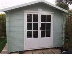 2.7m x 2.7m Premier Apex Log Cabin With Double Doors and Side Window + Free Floor & Felt (19mm)