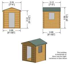 INSTALLED 2m x 2m Premier Apex Log Cabin With Single Door and Window Shutter + Free Floor & Felt (19mm) INSTALLATION INCLUDED
