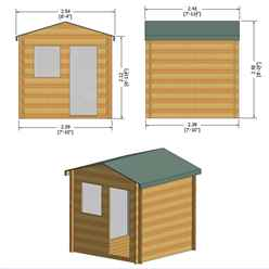 INSTALLED - 2.4m x 2.4m Premier Log Cabin With Half Glazed Single Door - Opening Window + Free Floor & Felt (19mm) INSTALLATION INCLUDED