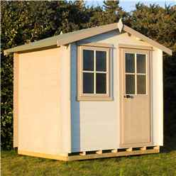 INSTALLED -  2.7m x 2.7m Premier Log Cabin With Half Glazed Single Door With Opening Window + Free Floor & Felt (19mm) INSTALLATION INCLUDED - IN STOCK BOOK A DELIVERY DATE