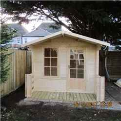 INSTALLED - 2.4m x 2.4m Premier Log Cabin With Fully Glazed Single Door With Single Window + Free Floor & Felt (19mm) INSTALLATION INCLUDED