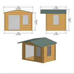 INSTALLED - 3.3m x 2.4m Premier Log Cabin With Half Glazed Double Doors and Single Window + Free Floor & Felt (19mm) INSTALLATION INCLUDED