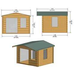 INSTALLED - 3.3m x 3m Premier Log Cabin With Half Glazed Double Doors + Single Window + Free Floor & Felt (19mm) INSTALLATION INCLUDED
