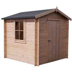 INSTALLED - 2.4m x 2.4m Premier Apex Log Cabin With Single Door and Opening Side Window + Free Floor & Felt (19mm) INSTALLATION INCLUDED