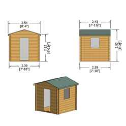 INSTALLED - 2.4m x 2.4m Premier Apex Log Cabin With Single Door and Opening Side Window + Free Floor & Felt (19mm) INSTALLATION INCLUDED - IN STOCK BOOK A DELIVERY DATE
