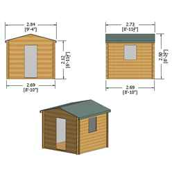 INSTALLED - 2.7m x 2.7m Premier Apex Log Cabin With Single Door and Opening Window + Free Floor & Felt (19mm) INSTALLATION INCLUDED