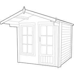 INSTALLED - 2.7m x 2.7m Premier Apex Log Cabin With Interchangeable Door and Window + Free Floor & Felt (19mm) INSTALLATION INCLUDED