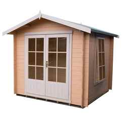 INSTALLED - 2m x 2m Premier Apex Log Cabin With Double Doors and Side Window + Free Floor & Felt (19mm) INSTALLATION INCLUDED -  IN STOCK BOOK A DELIVERY DATE