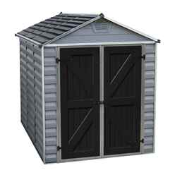 8ft x 6ft (2.28m x 1.85m) Double Door Apex Plastic Shed with Skylight Roofing