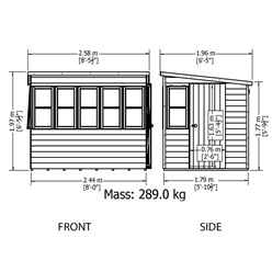 8ft x 6ft (1.83m x 2.39m) - Tongue And Groove - Pent Potting Shed - 2 Opening Windows - Single Door - 12mm Tongue And Groove Floor & Roof