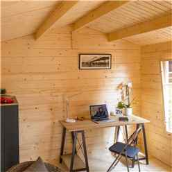 4.2m x 3.3m Home Office Apex Log Cabin - 28mm Wall Thickness (14ft x 11ft)