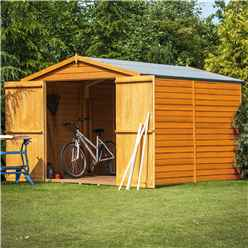 ** FLASH REDUCTION** 10ft x 8ft (2.99m x 2.39m) -  Windowless Dip Treated Overlap - Apex Garden Shed - Double Doors - 11mm Solid OSB Floor - CORE - IN STOCK BOOK A DELIVERY DATE